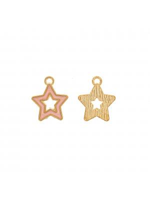 Ciondolo a forma di stella, forata, 14x16 mm., colore base Oro Lucido, colore smalto Rosa