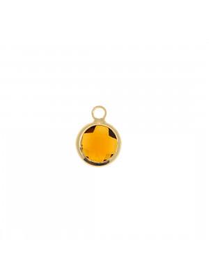 Ciondolo in colore Oro Lucido con pietra tonda centrale Smoked Topaz
