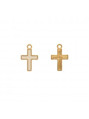 Ciondolo a forma di Croce, 11x16 mm., colore smalto Bianco