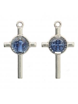 Ciondolo a forma di Croce con elemeno al centro, 13x23 mm., base Argento Anticato, colore smalto Blu