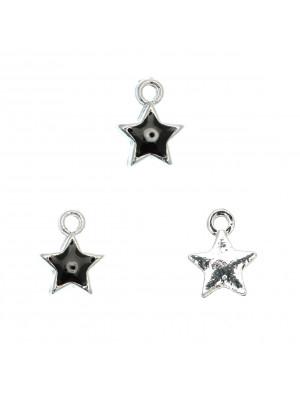 Ciondolo a forma di stella, smaltato su un lato, 8x11 mm., base in metallo colore Argento Rodio