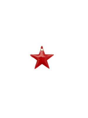 Ciondolo a Stella, 12x12 mm., smaltato Rosso