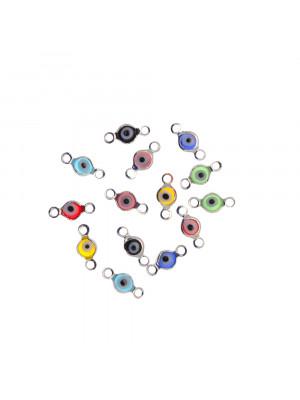 Elemento a doppio anello con incastonato un occhietto in vetro, misura 4,5x10 mm., colori misti base in metallo colore Argentato Rodio