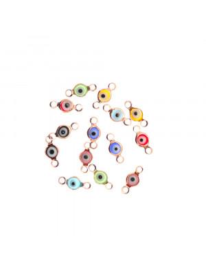 Elemento a doppio anello con incastonato un occhietto in vetro, misura 4,5x10 mm., colori misti base in metallo colore Oro Rosa