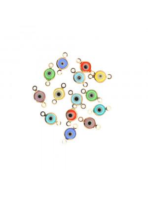 Elemento a doppio anello con incastonato un occhietto in vetro, misura 6,5x13 mm., colori misti base in metallo colore Oro Lucido