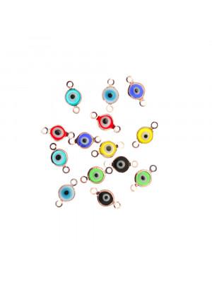 Elemento a doppio anello con incastonato un occhietto in vetro, misura 6,5x13 mm., colori misti base in metallo colore Oro Rosa