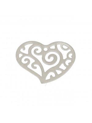 Ciondolo a forma di cuore, filigranato, 16x13 mm.