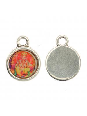 Ciondolo a forma di medaglia con Ganesh, 15x20 mm., base Argento Anticato
