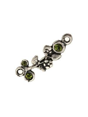 Ciondolo smaltato a forma di ramo di fiori con 3 strass e con 2 anelli 30x10 mm. Base argento antico