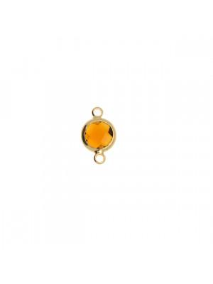 Elemento a due anelli, 14x8 mm., in colore Oro Lucido con pietra tonda centrale Smoked Topaz