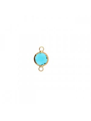 Elemento a due anelli, 14x8 mm., in colore Oro Lucido con pietra tonda centrale Indicolite