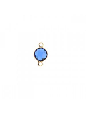 Elemento a due anelli, 14x8 mm., in colore Oro Lucido con pietra tonda centrale Capri Blue