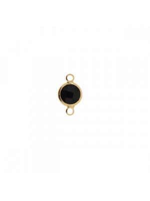 Elemento a due anelli, 14x8 mm., in colore Oro Lucido con pietra tonda centrale Jet