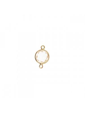 Elemento a due anelli, 14x8 mm., in colore Oro Lucido con pietra tonda centrale Crystal