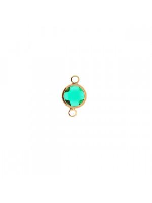 Elemento a due anelli, 14x8 mm., in colore Oro Lucido con pietra tonda centrale Emerald