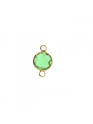 Elemento a due anelli, 17x11 mm., in colore Oro Lucido con pietra tonda centrale Peridot