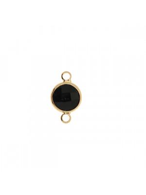 Elemento a due anelli, 17x11 mm., in colore Oro Lucido con pietra tonda centrale Jet