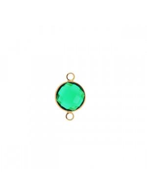 Elemento a due anelli, 17x11 mm., in colore Oro Lucido con pietra tonda centrale Emerald