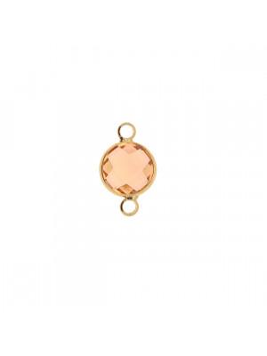 Elemento a due anelli, 17x11 mm., in colore Oro Lucido con pietra tonda centrale Vintage Rose