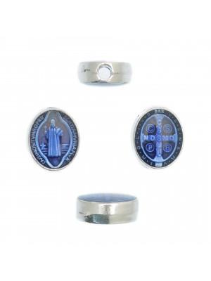 Distanziatore ovale con Santo, 8x10 mm., base Argento Anticato, colore smalto Blu