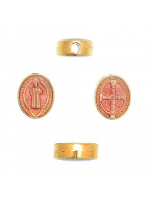 Distanziatore ovale con Santo, 8x10 mm., base Oro Lucido, colore smalto Rosa Antico