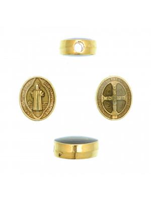 Distanziatore ovale con Santo, 8x10 mm., base Oro Lucido, colore smalto Grigio Chiaro
