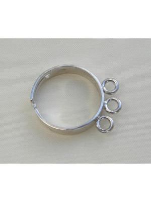 Base anello a fascia con 3 anelli grandi Argento 925