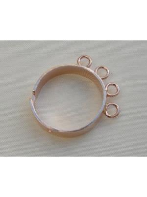 Base anello a fascia con 4 anelli grandi Argento 925