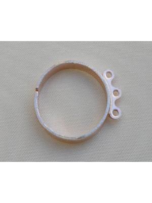 Base anello fascia stretta con 3 anelli piccoli, Argento 925