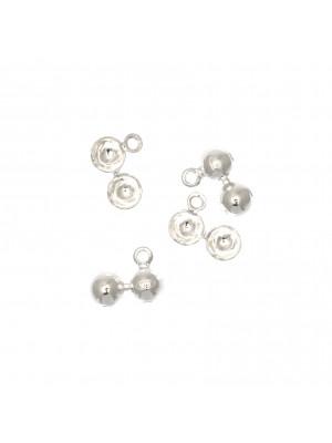 Coppetta chiudi nodo, doppia semi-sfera, anello chiuso, diametro sfera 5 mm. Argento 925
