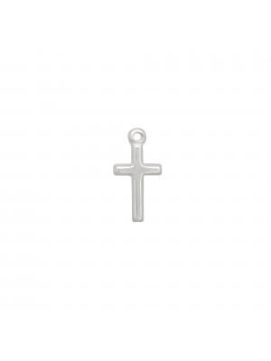 Ciondolo a forma di croce liscia, 11x21 mm., in Argento Lucido 925