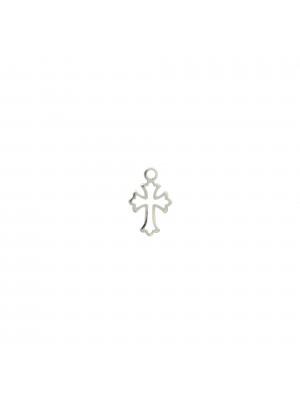 Ciondolo a forma di croce, piccola e traforata, 11x7 mm., in Argento 925
