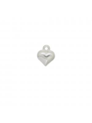 Ciondolo a forma di cuore bombato 10 mm. in Argento 925