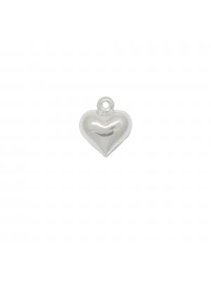 Ciondolo a forma di cuore bombato 12 mm. in Argento 925