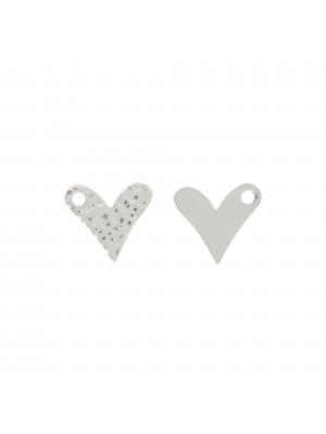 Ciondolo a forma di cuore piatto e martellato 13x13 mm. in Argento lucido 925