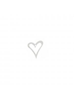 Ciondolo a forma di cuore stilizzato,10,5x11 mm. in Argento 925