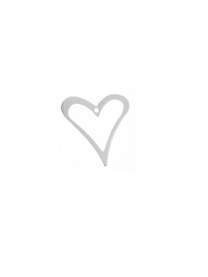 Ciondolo a forma di cuore stilizzato,16x18 mm. in Argento 925