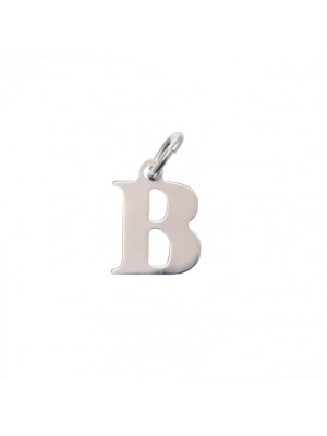 """Ciondolo a forma di lettera """"B"""", 10x14 mm., in Argento Lucido 925"""