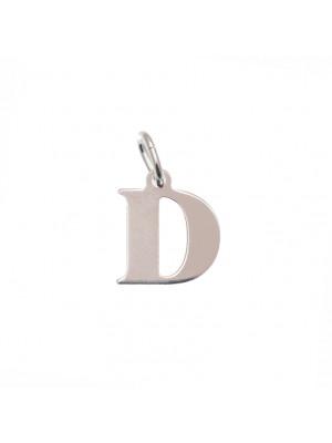 """Ciondolo a forma di lettera """"D"""", 12x14 mm., in Argento Lucido 925"""