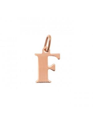 """Ciondolo a forma di lettera """"F"""", 9x14 mm., in Argento Rosato 925"""
