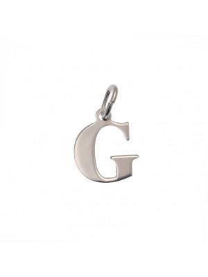 """Ciondolo a forma di lettera """"G"""", 12x14 mm., in Argento Lucido 925"""