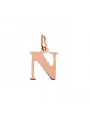 """Ciondolo a forma di lettera """"N"""", 10x14 mm., in Argento Rosato 925"""