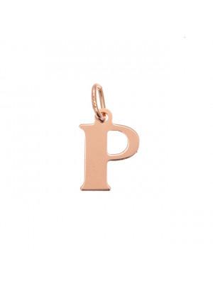 """Ciondolo a forma di lettera """"P"""", 10x14 mm., in Argento Rosato 925"""