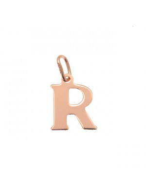"""Ciondolo a forma di lettera """"R"""", 11x14 mm., in Argento Rosato 925"""