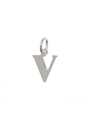 """Ciondolo a forma di lettera """"V"""", 11x14 mm., in Argento Lucido 925"""