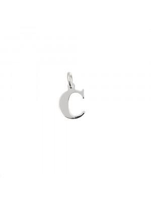 """Ciondolo a forma di lettera """"C"""", 7x10 mm., in Argento Lucido 925"""