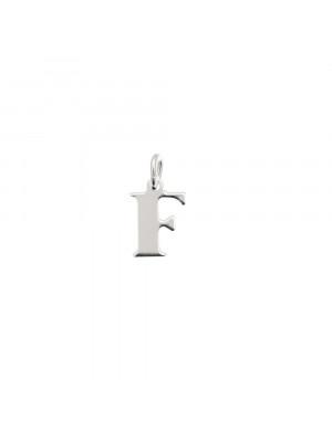 """Ciondolo a forma di lettera """"F"""", 7x10 mm., in Argento Lucido 925"""
