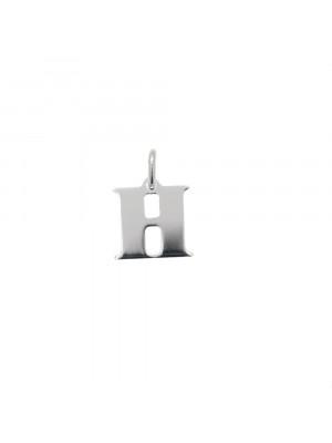 """Ciondolo a forma di lettera """"H"""", 9x10 mm., in Argento Lucido 925"""