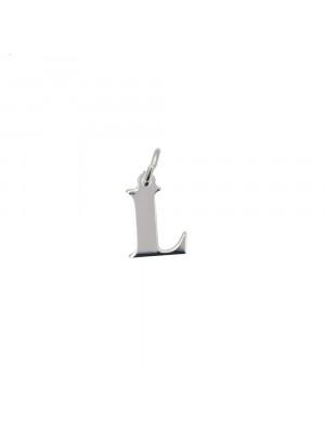 """Ciondolo a forma di lettera """"L"""", 7x10 mm., in Argento Lucido 925"""