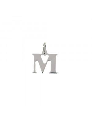 """Ciondolo a forma di lettera """"M"""", 10x10 mm., in Argento Lucido 925"""
